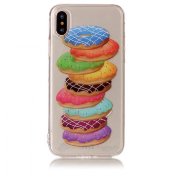 Doughnut Pattern Soft TPU Anti-scratch Back Cover Case for iPhone X
