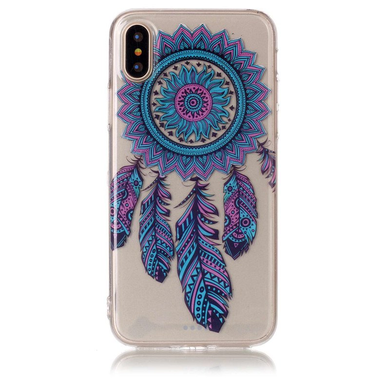 Blue Chimes Pattern Soft TPU Anti-scratch Back Cover Case for iPhone X - multicolorCOLOR