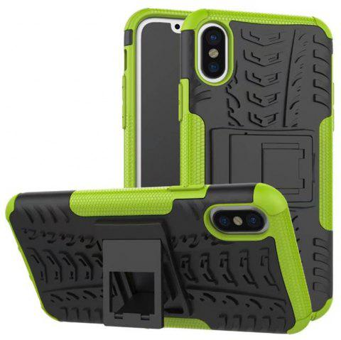 Case for iPhone X Super Cool Back Clip Holder Protection Shell Rugged Cover Smartphone - GREEN FOR IPHONE X
