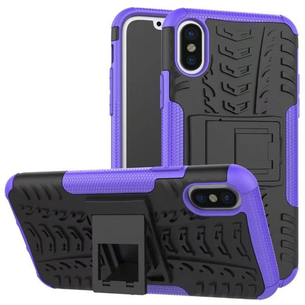 Case for iPhone X Super Cool Back Clip Holder Protection Shell Rugged Cover Smartphone - PURPLE FOR IPHONE X