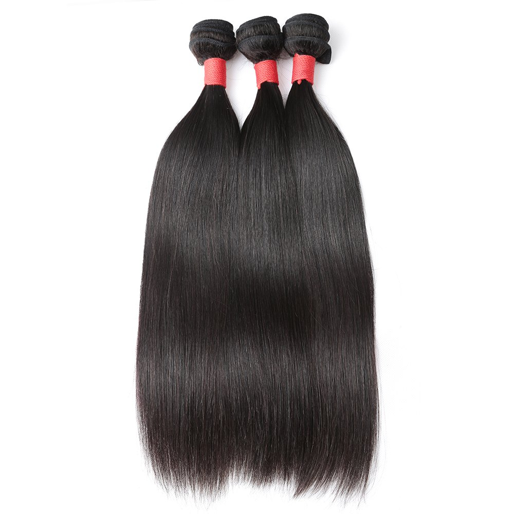 Inidan Unprocessed Virgin Straight Human Hair Weave High Quality Bundle 1piece 8 inch - 28 inch - BLACK 24INCH
