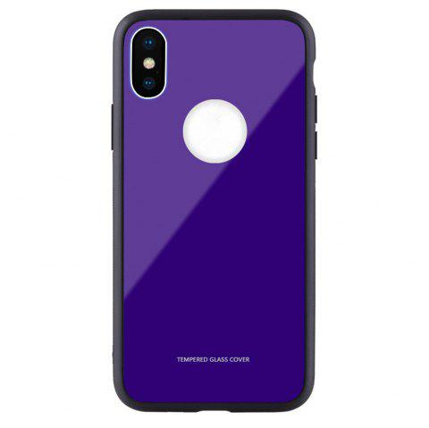 Tempered Glass Back Phone Case For iPhone X - BLUE