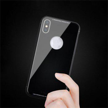 Tempered Glass Back Phone Case For iPhone X - BLACK