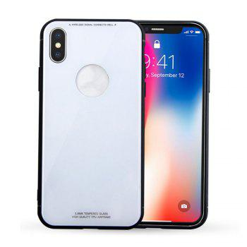Tempered Glass Back Phone Case For iPhone X - WHITE