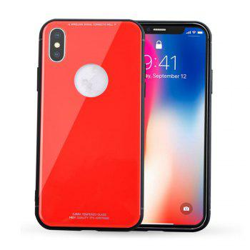 Tempered Glass Back Phone Case For iPhone X - RED