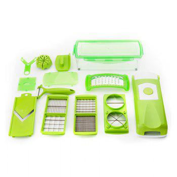 Kitchen Shredder Hand Peeling Machine Type Mashed Garlic Potato Slice Grater Set -  GREEN