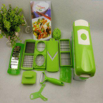 Kitchen Shredder Hand Peeling Machine Type Mashed Garlic Potato Slice Grater Set - GREEN GREEN