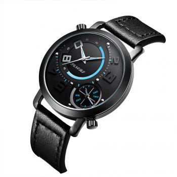 SN004 Fashion Date Quartz Watch avec bracelet en cuir - Noir