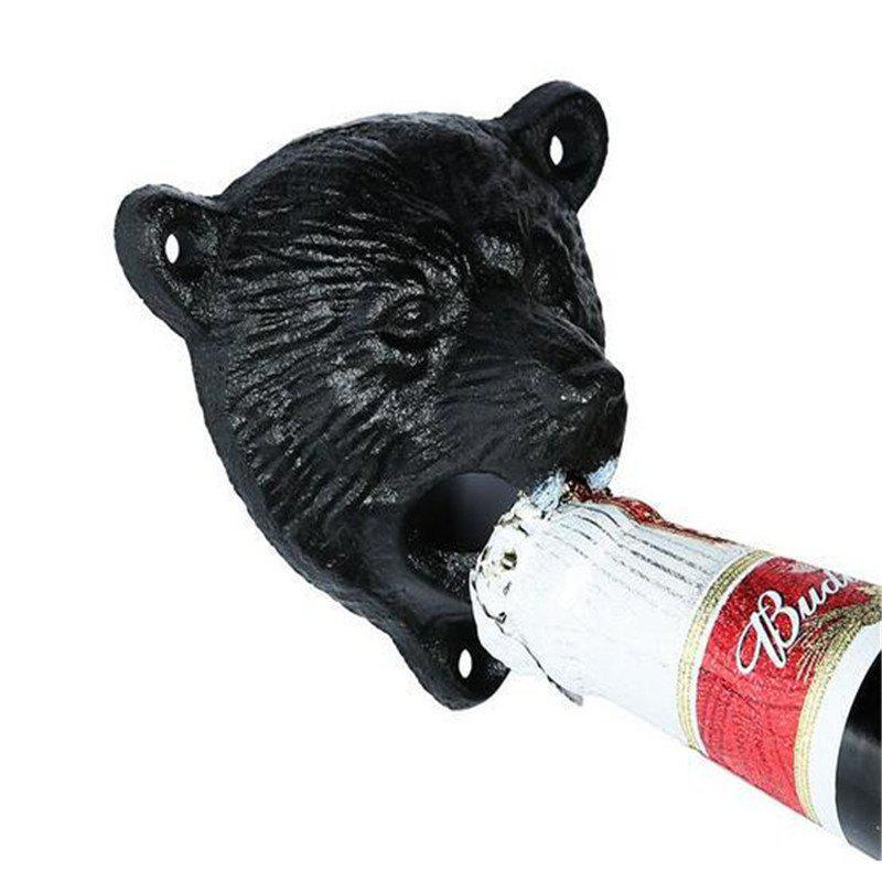 Creative Iron Bear Head Shape Bottle Opener - BLACK