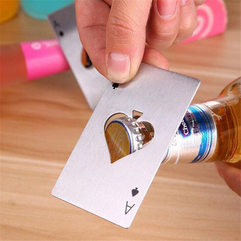 Creative Playing Cards Spades A Shape Stainless Steel Bottle Opener - SILVER