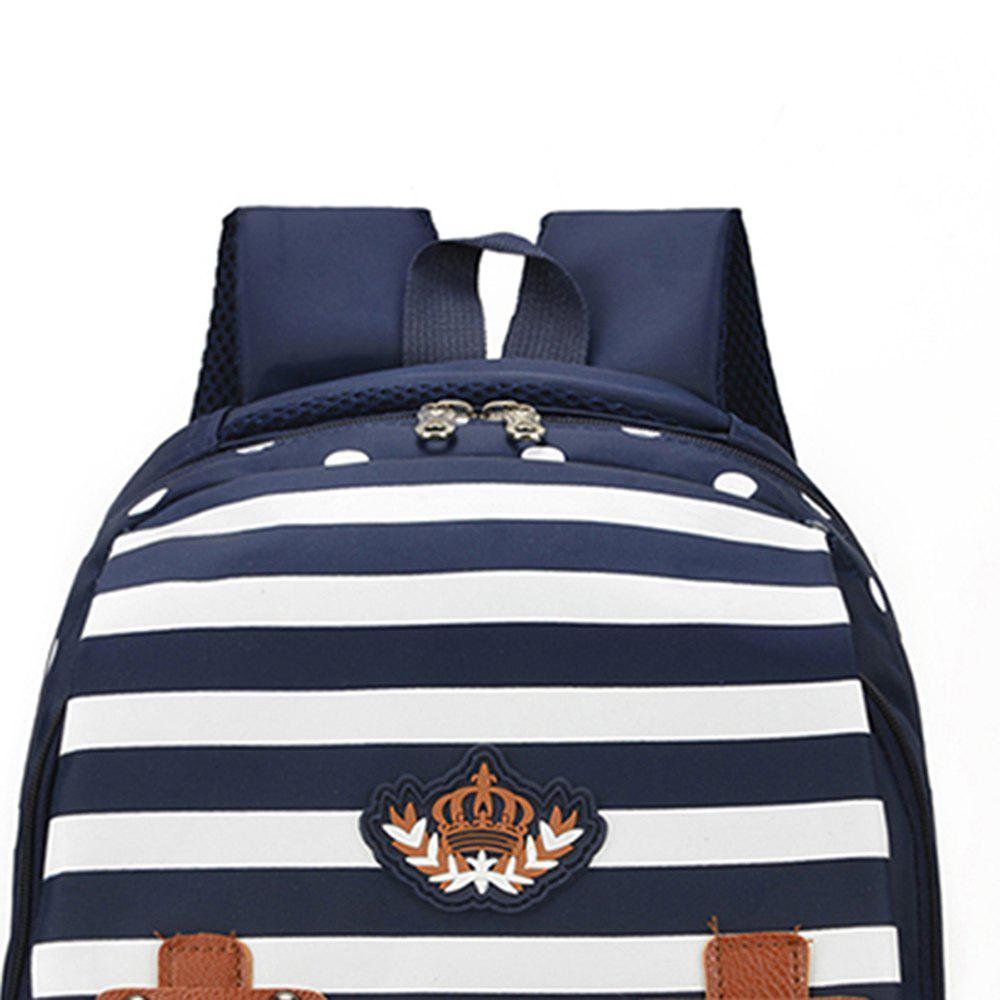 Striped Casual Shoulder Bag Wave Point Pattern Backpack - PURPLISH BLUE
