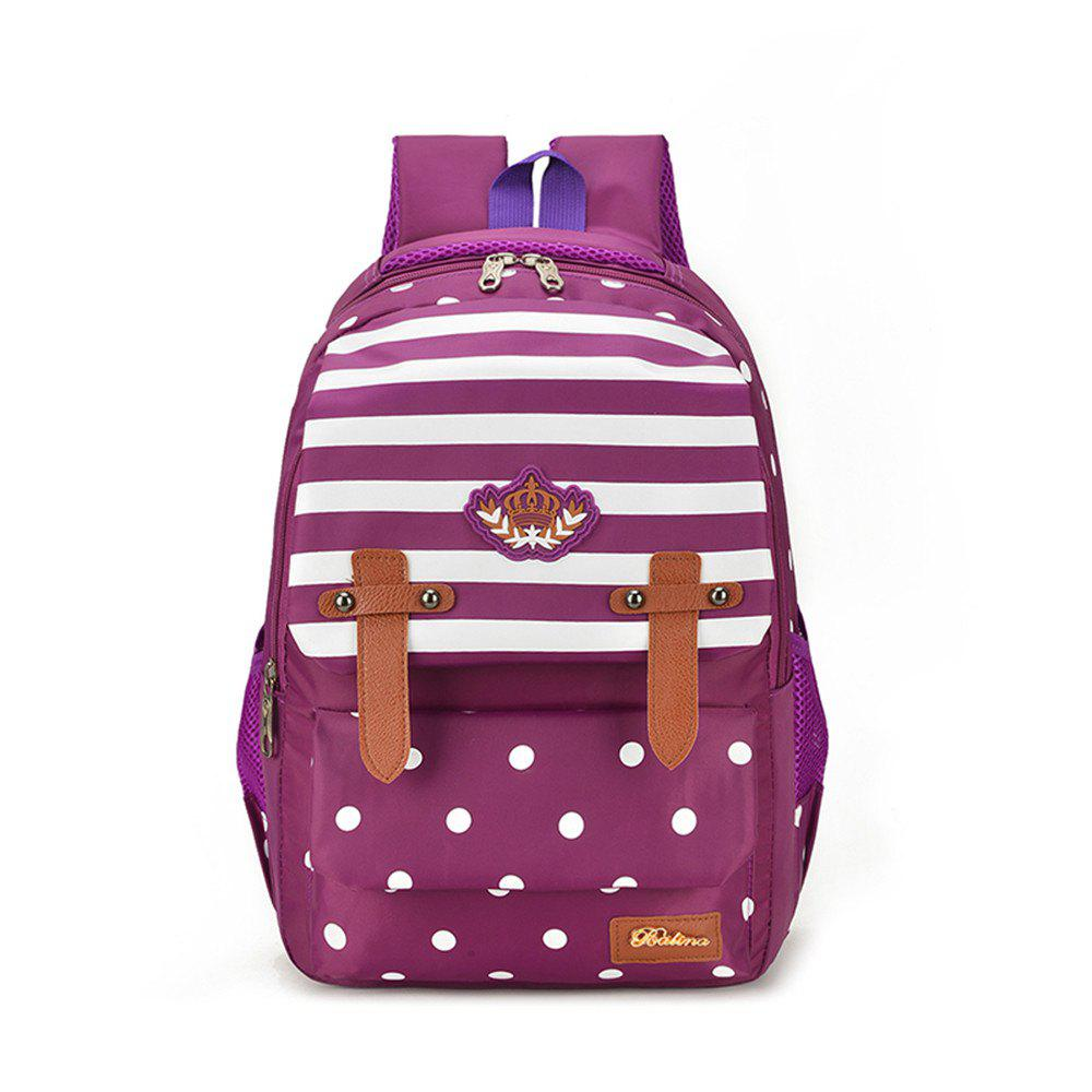 Striped Casual Shoulder Bag Wave Point Pattern Backpack - PURPLE