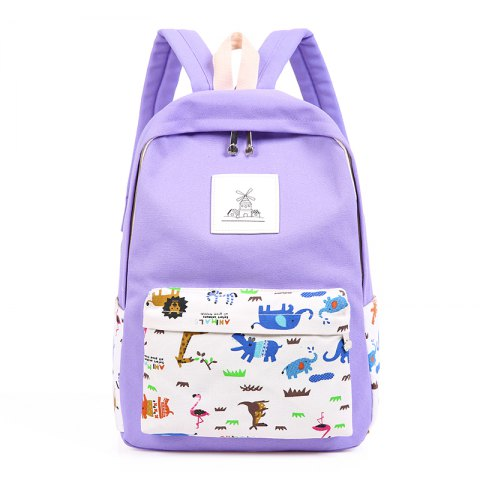 3pcs Canvas Travel Backpack Colorful Cartoon Animal Printing Bags - LIGHT PURPLE