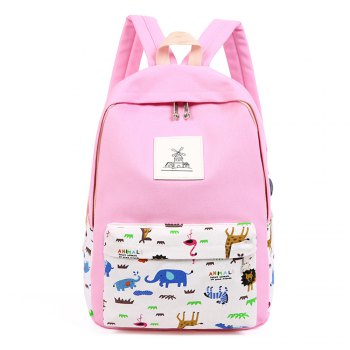 3pcs Canvas Travel Backpack Colorful Cartoon Animal Printing Bags - LIGHT PINK LIGHT PINK
