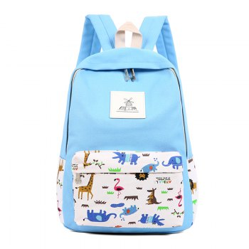 3pcs Canvas Travel Backpack Colorful Cartoon Animal Printing Bags - LIGHT BLUE LIGHT BLUE