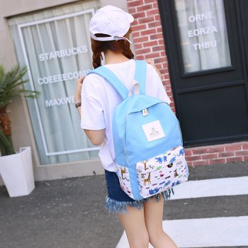 3pcs Canvas Travel Backpack Colorful Cartoon Animal Printing Bags - LIGHT BLUE