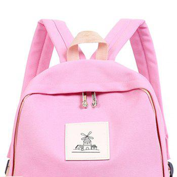 3pcs Canvas Travel Backpack Colorful Cartoon Animal Printing Bags - LIGHT PINK