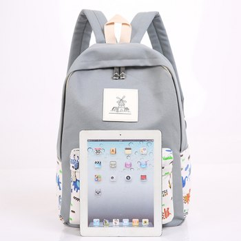 3pcs Canvas Travel Backpack Colorful Cartoon Animal Printing Bags - GRAY