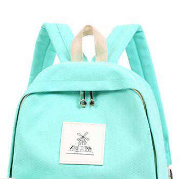 3pcs Canvas Travel Backpack Colorful Cartoon Animal Printing Bags - LIGHT GREEN