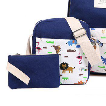 3pcs Canvas Travel Backpack Colorful Cartoon Animal Printing Bags -  DEEP BLUE
