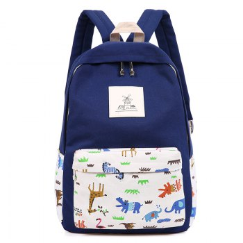 3pcs Canvas Travel Backpack Colorful Cartoon Animal Printing Bags - DEEP BLUE DEEP BLUE