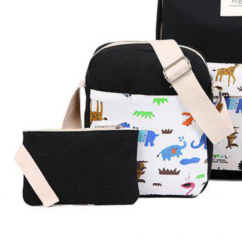 3pcs Canvas Travel Backpack Colorful Cartoon Animal Printing Bags -  BLACK