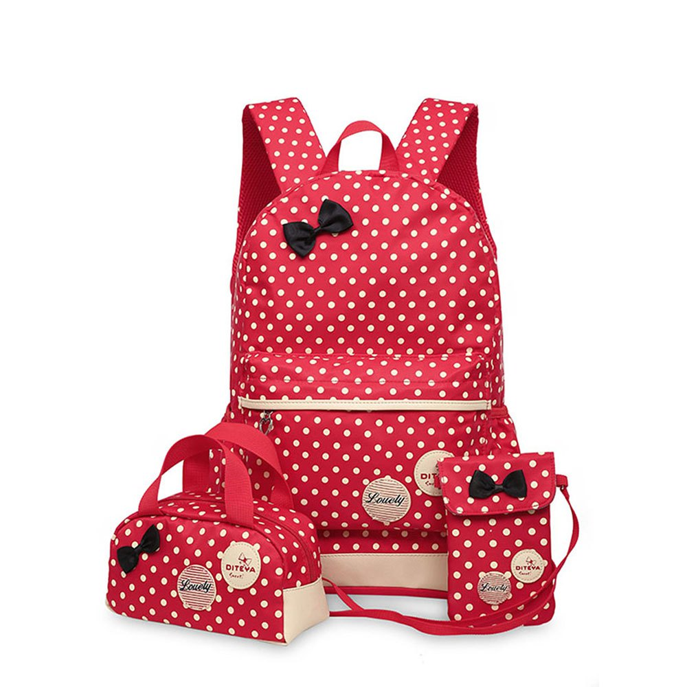 0323 Casual Fresh Backpack Summer Bag 3PCS - RED