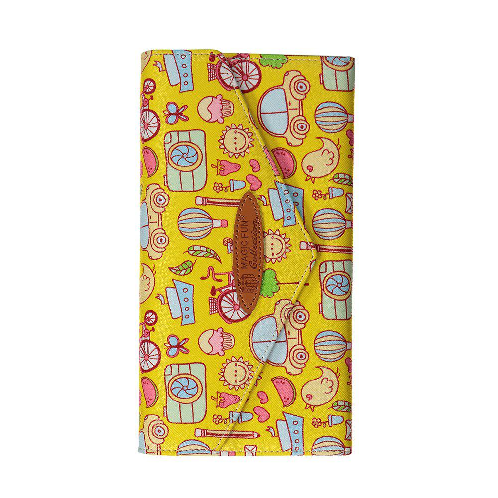 Cartoon Hand-painted Leather Wallet - YELLOW