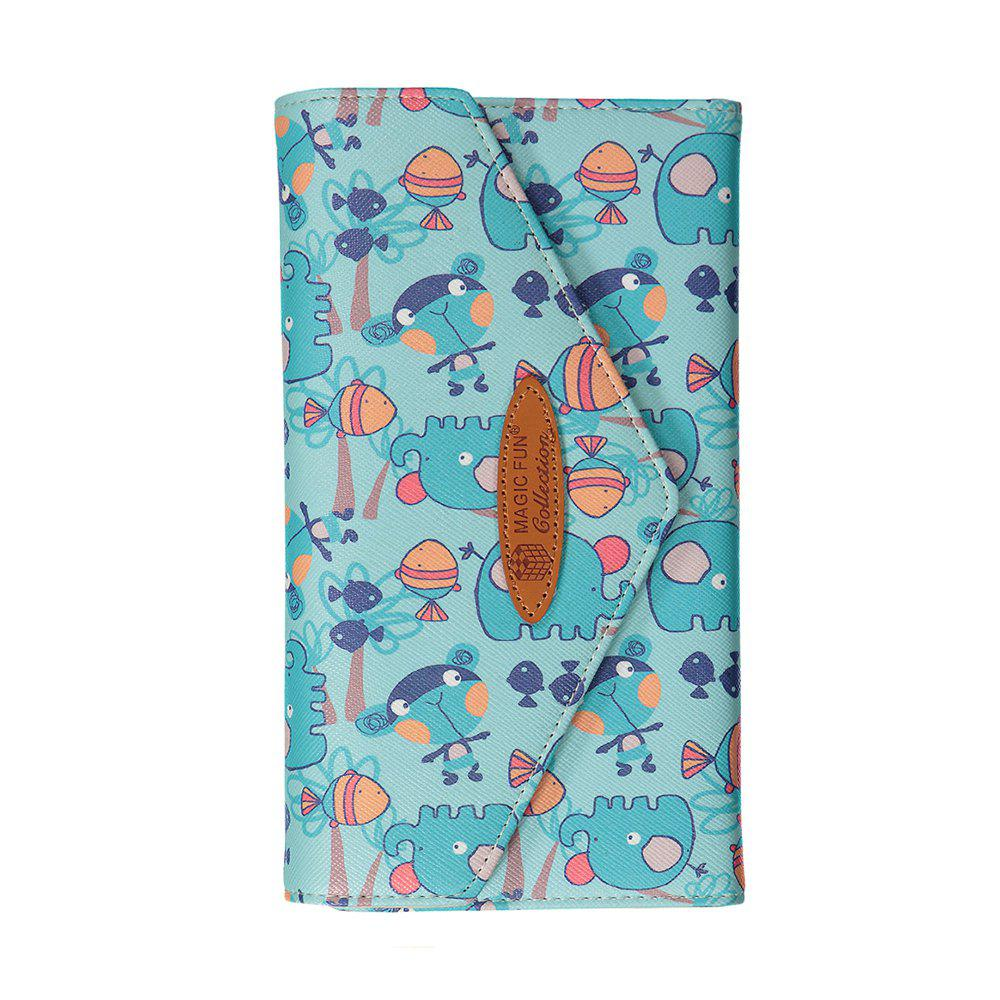 Cartoon Hand-painted Leather Wallet - AZURE
