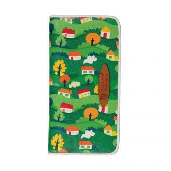 Cartoon Hand-painted Colorful Leather Wallet - GREEN GREEN