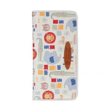 Cartoon Hand-painted Colorful Leather Wallet - WHITE WHITE
