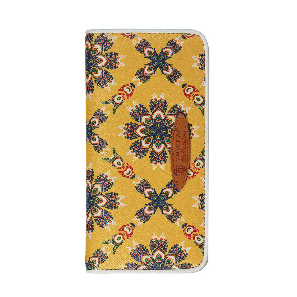 Cartoon Hand-painted Colorful Leather Wallet - YELLOW