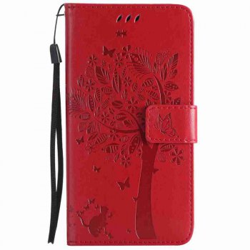Embossed Cat and Tree PU TPU Phone Case for HUAWEI  Mate 10 - BRIGHT RED BRIGHT RED