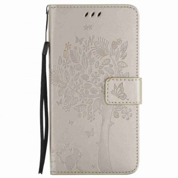 Embossed Cat and Tree PU TPU Phone Case for HUAWEI  Mate 10 - GOLDEN GOLDEN