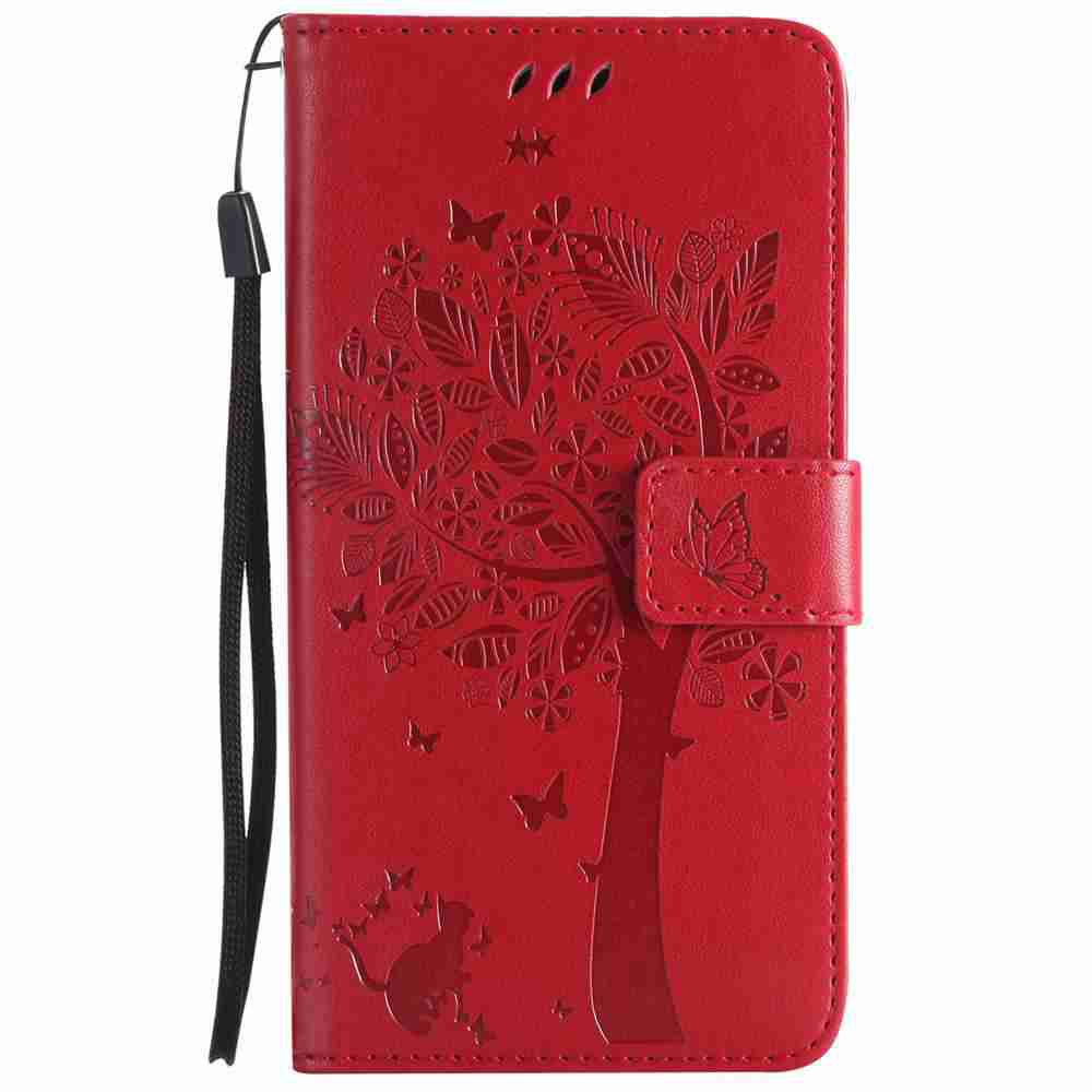 Embossed Cat and Tree PU TPU Phone Case for HUAWEI  Mate 10 - BRIGHT RED