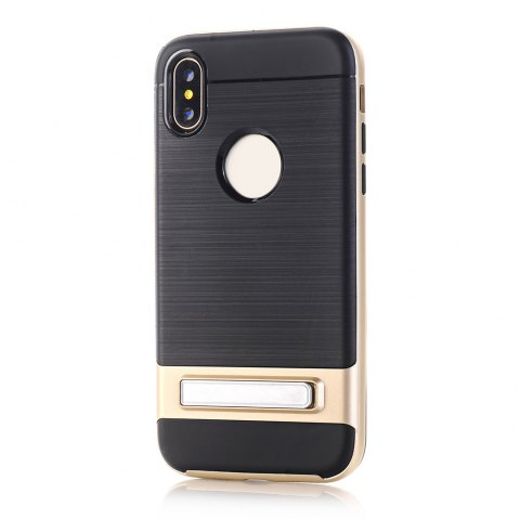 PC + TPU Protective Case with Stand for iphone X - GOLDEN