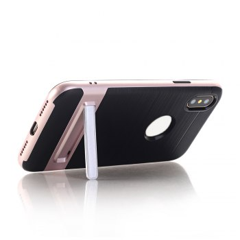 PC + TPU Protective Case with Stand for iphone X - PINK