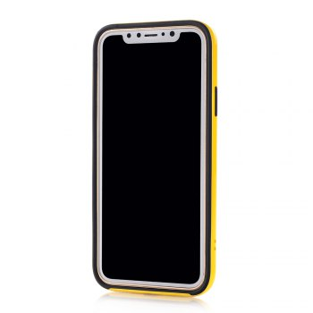 PC + TPU Protective Case with Stand for iphone X - YELLOW