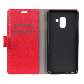 KaZiNe Luxury PU Leather Silicon Magnetic Dirt Resistant Phone Bags Cases for Samsung Galaxy A5 2018 -  RED