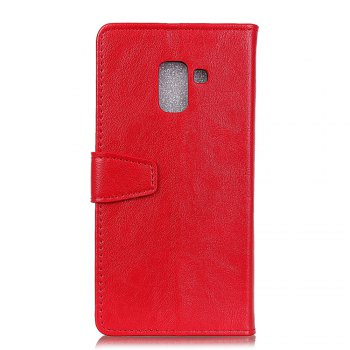 KaZiNe Luxury PU Leather Silicon Magnetic Dirt Resistant Phone Bags Cases for Samsung Galaxy A7 2018 -  RED