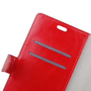 KaZiNe Crazy Horse Texture Surface Leather Wallet Case for WIKO VIEW -  RED