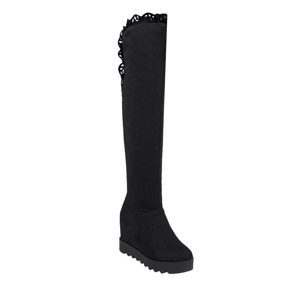 Lace Solid Color Invisible Heel Shoes Women's Above Knee Boots