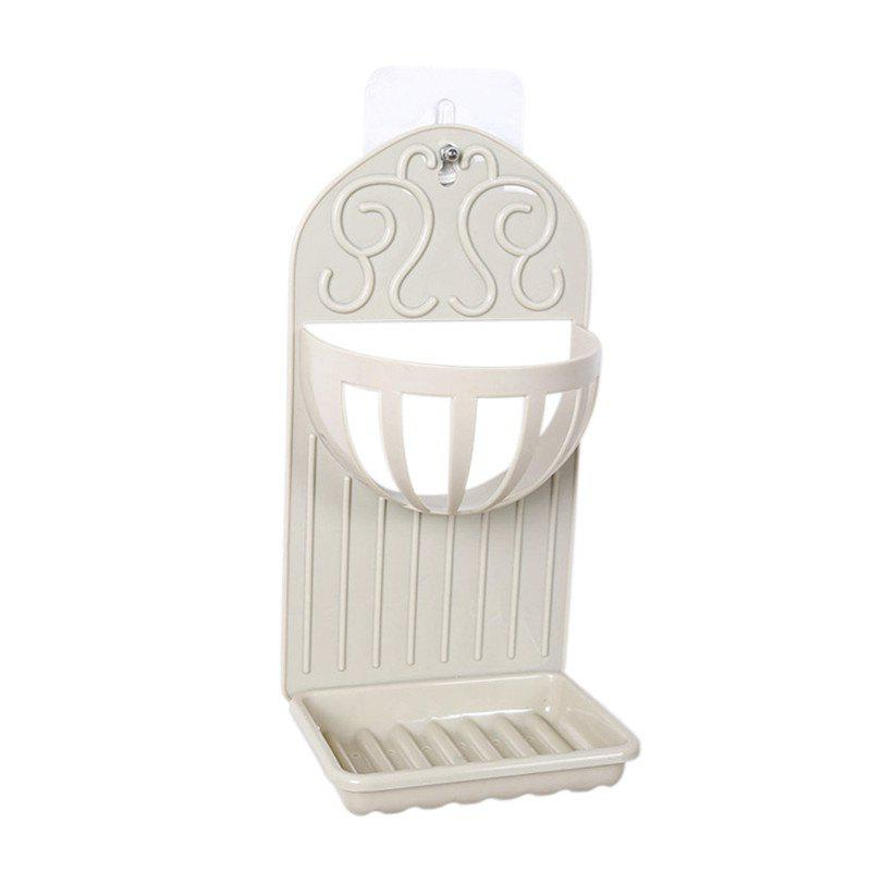 Soap Holder Simple Solid Color Draining Storage Rack - BEIGE