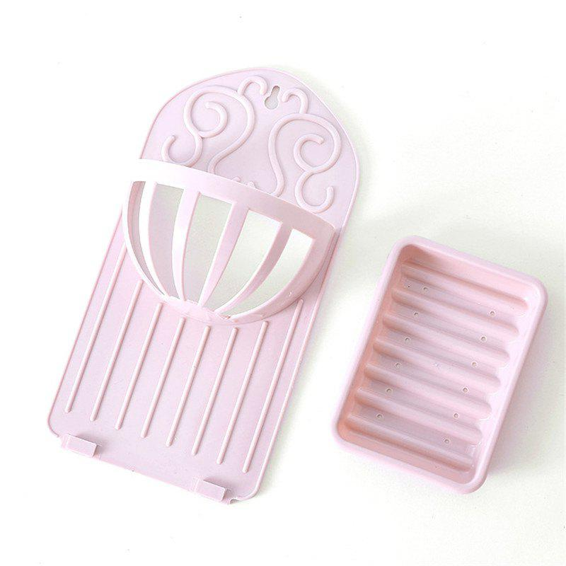 Soap Holder Simple Solid Color Draining Storage Rack - PINK