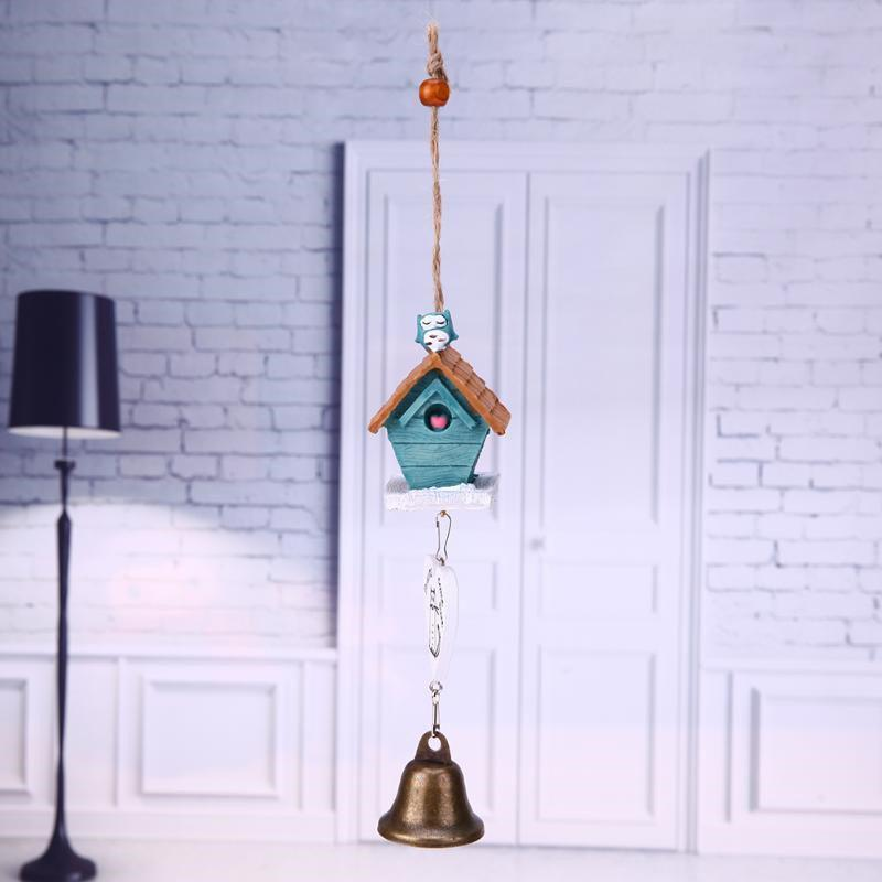 Small House Wind Chimes for Home Hanging Decoration - BLUE