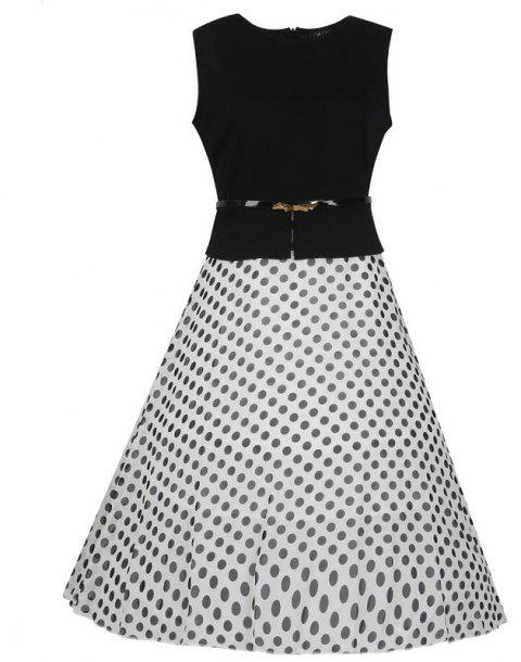 Women's Wear Sleeveless Stitching Fashion Polka Dot Large Swing Dress - WHITE M
