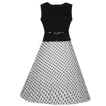 Women's Wear Sleeveless Stitching Fashion Polka Dot Large Swing Dress - WHITE WHITE