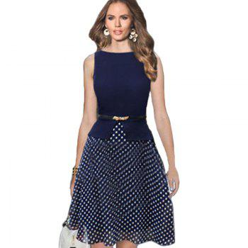 Women's Wear Sleeveless Stitching Fashion Polka Dot Large Swing Dress - PURPLISH BLUE L