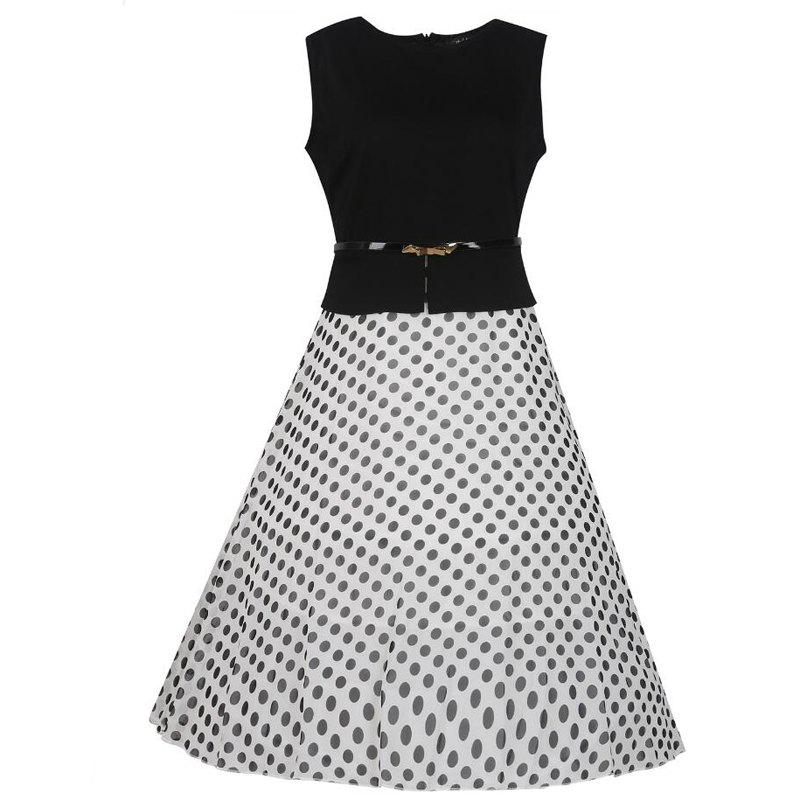 Women's Wear Sleeveless Stitching Fashion Polka Dot Large Swing Dress - WHITE L