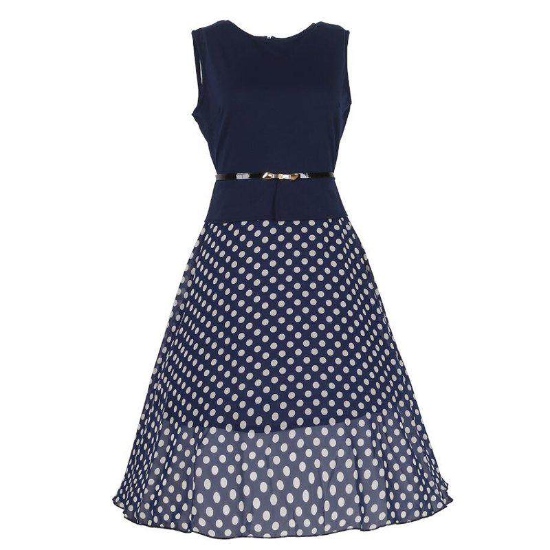 Women's Wear Sleeveless Stitching Fashion Polka Dot Large Swing Dress - PURPLISH BLUE M